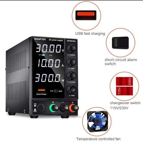 Fonte alimentação de  bancada 30 V-10A com saída USB 4 digitos