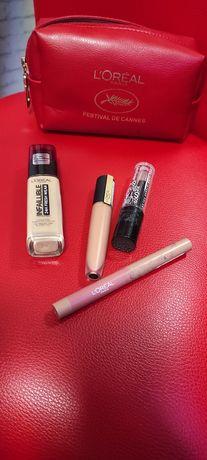 Косметика для лица Loreal, тональный крем, блеск для губ, карандаш