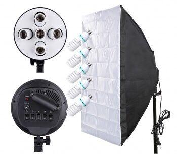 Набор постоянного света(штатив,софтбокс,лампы 5шт,держатель)