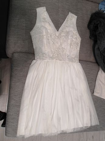 Sukienka ecru roz. 40 idealna na poprawiny dla panny młodej