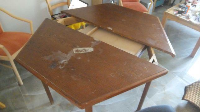 Debowy stol szesciokatny 120cm  rozlozony 170 cm i 5 krzesel