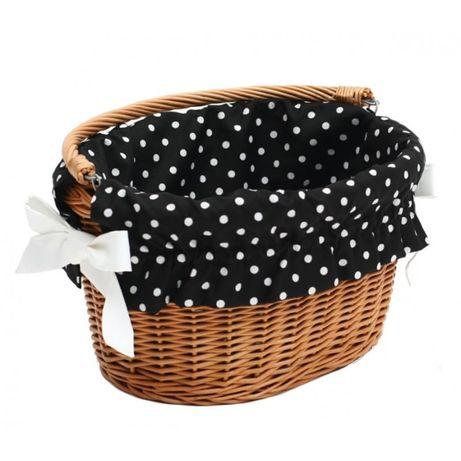 Wkład do koszyka ze wzorem w kropki, czarny