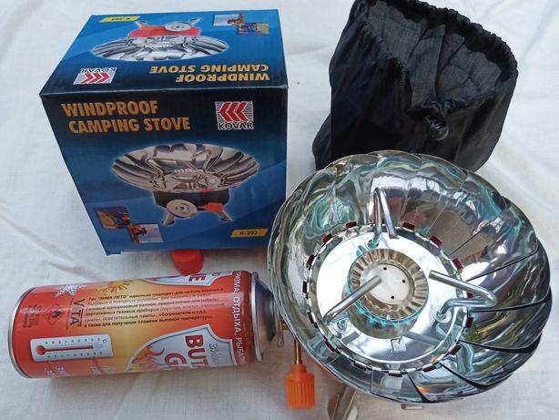 Плита газовая туристическа портативная с ветрозащитой (чехол+коробка)