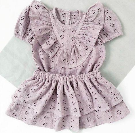 Mini Me Handmade zestaw bluzka spódniczka wrzosowy fiolet ażur 6-9 m-c