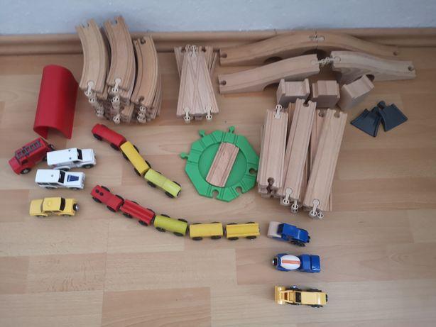 Ikea pociągi drewniane duży zestaw