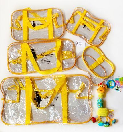 Набор 4+1 прозрачная сумка в роддом Mommy Bag Органайзер в подарок!