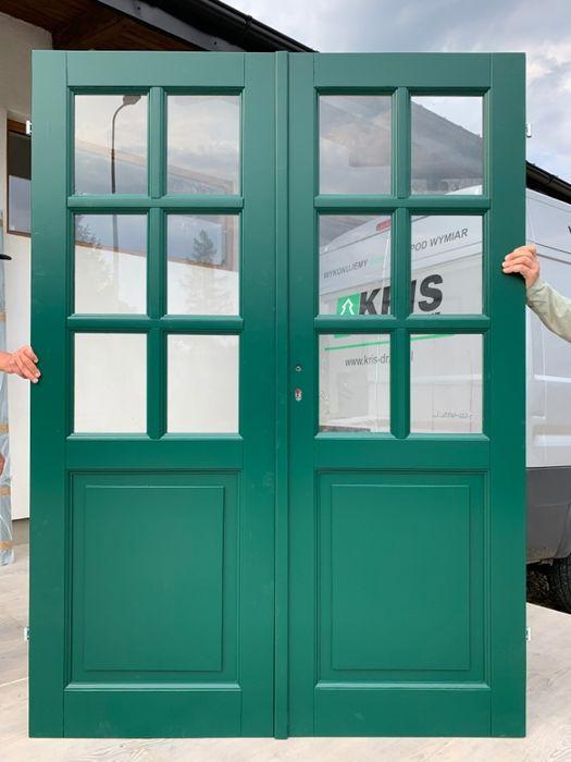 Drzwi dwuskrzydłowe symetryczne szpros zielone wewnętrzne