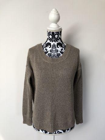 Sweter srebrna nitka XS 34 H&M sweterek brązowy