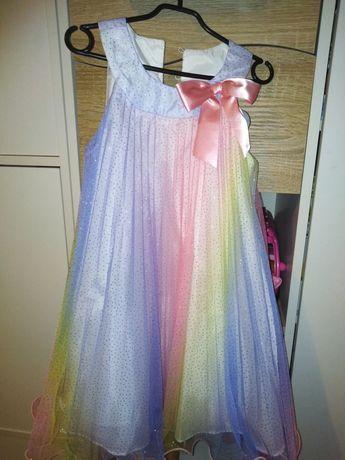 Tęczowa sukienka nowa 5lat