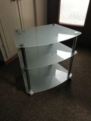 Stolik szklany 3 poziomowy na kółkach metalowy stelaz