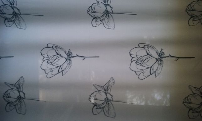 Zaslona biala w kwiaty
