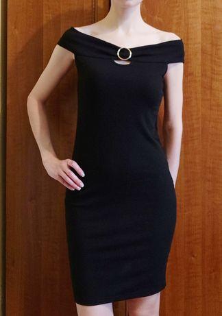 Новое черное платье-хомут Luc-Ce XS-S 34-36 40-42 в рубчик ХС С