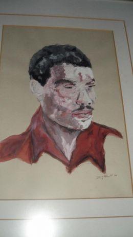 Quadro pintura a óleo sobre papel - 1984 - autor desconhecido
