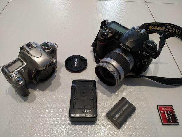 Lustrzanka Nikon d200 + Nikkor 28-80 + Nikon f55  karta 16GB ładowarka