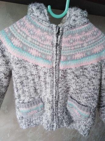 Bluza z kapturem ocieplana 92/98 lata zimowa dla dziewczynki Mini club