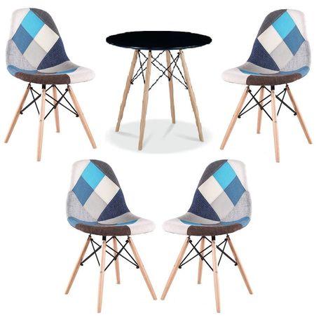 Zestaw stół okrągły czarny i 4 krzesła patchwork niebieskie
