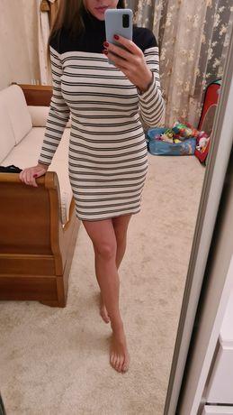 Платье гольф в рубчик