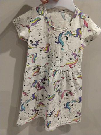 Sukienka jednorożce krótki rękaw 104