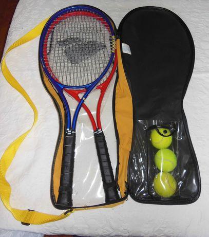 Conjunto raquetes de ténis + bolas + bolsa
