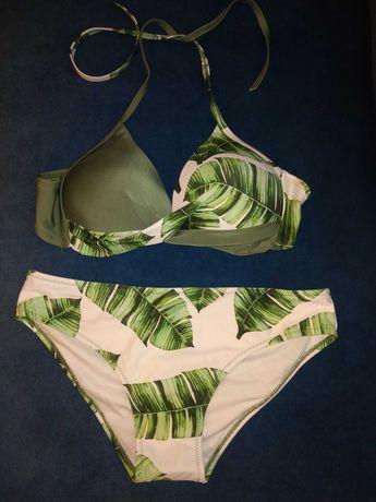 Strój kąpielowy bikini liście zielone nowe