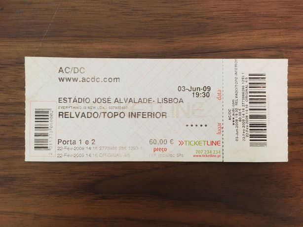 Bilhete Concerto AC/DC completo