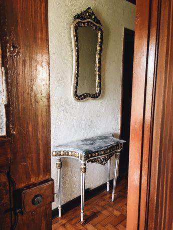 Aparador com marmore e Espelho