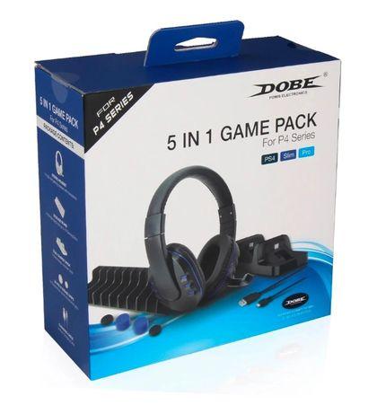 Zestaw 5w1 Słuchawki Ładowarka Game Pack PS4 *Video-Play Wejherowo