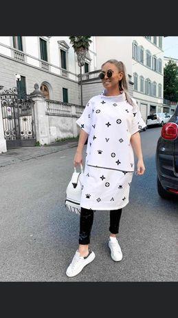 Tunika sukienka korona biała czarna Włoska over size S.M.L.XL.XXL.XXXL
