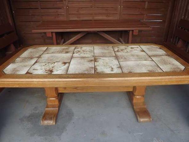 Drewniana ława z płytkami  z Niemiec
