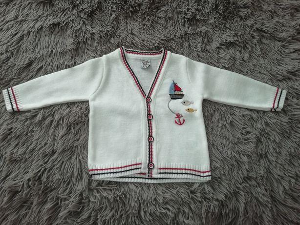Nowy biały sweterek dla chłopca r. 68 chrzest, święta