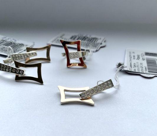Новий срібний комплект з золотими пластинами та вставками Фіаніту