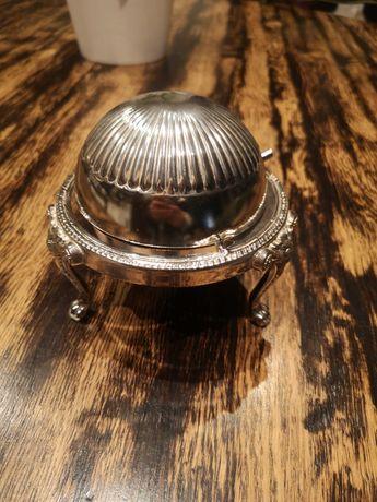 Kawiornica, maselniczka posrebrzana + nożyk