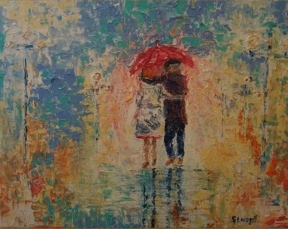 """Картина маслом """"Босиком под весенним дождём"""", 30х40."""