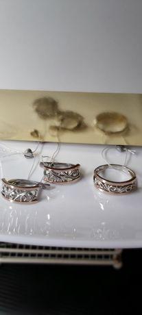 Продам  серебряный  набор с золотыми  накладками