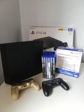 PS4 500GB Slim c/ 2 comandos + 6 jogos