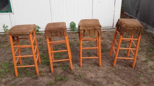 Hokery kowbojskie drewniane wiklinowe skórzane Western wiklina4 sztuki
