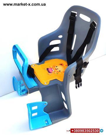 Велокресло детское велосипедное кресло Велокрісло детское Сиденье сіре