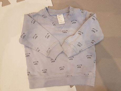 Błękitna Bluza w myszki H&M 68 74