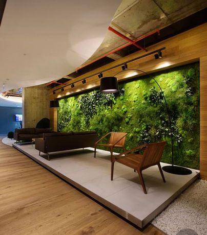 Parede de plantas , placas verdes