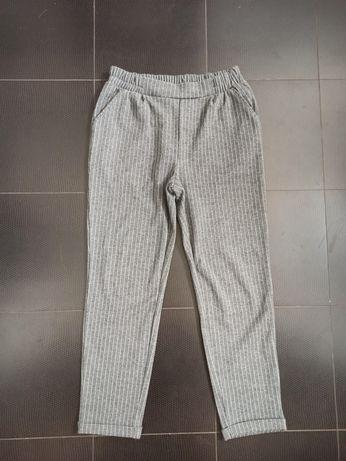 House szare spodnie eleganckie dresy na gumce kieszenie prążki