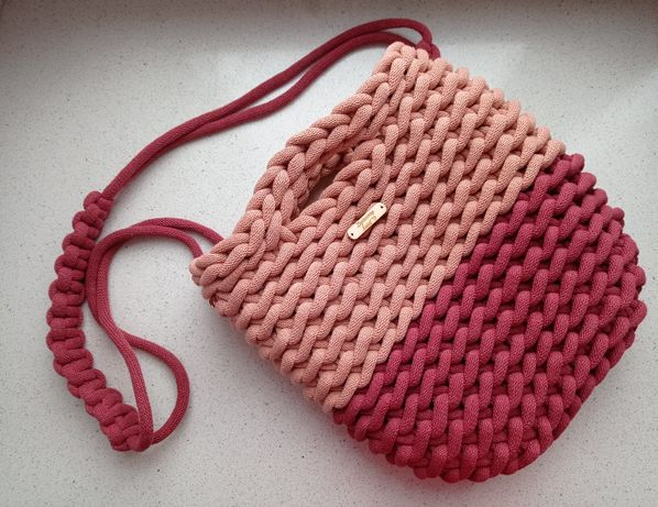 Torebka worek pleciona ze sznurka handmade (na zamówienie różne kolory