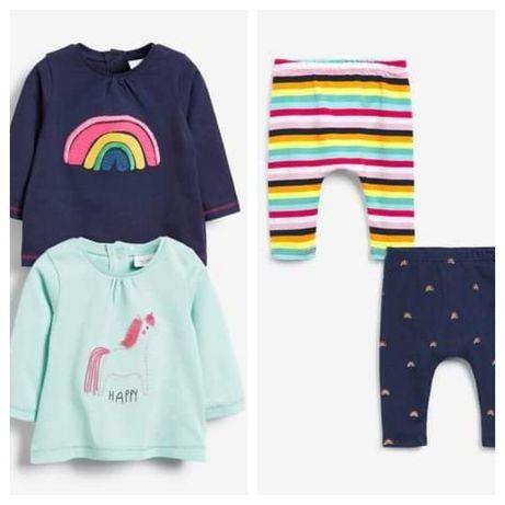 Bluzeczki i leginsy NEXT  BABY 50 cm 3.5 kg nowe 4 szt