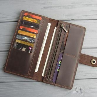 Стильный кожаный кошелек ручной работы_кожаное портмоне