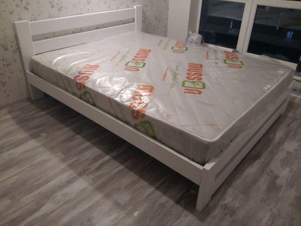 Дерев'яне білосніжне ліжко, кровать розміром 160х200