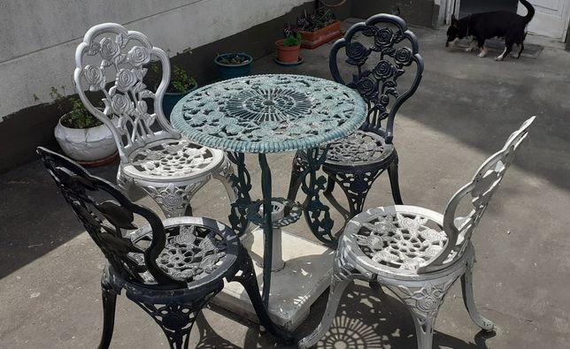 mesa ferro forjado jardim com 4 cadeiras
