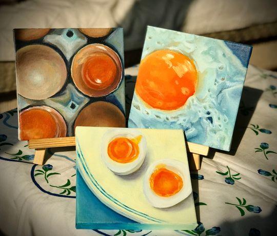 Сет картин «Яйцо», 15Х15, холст. , олійні фарби.