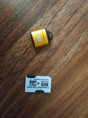 Адаптер MS pro duo для SD карт + карты памяти 2gb +512
