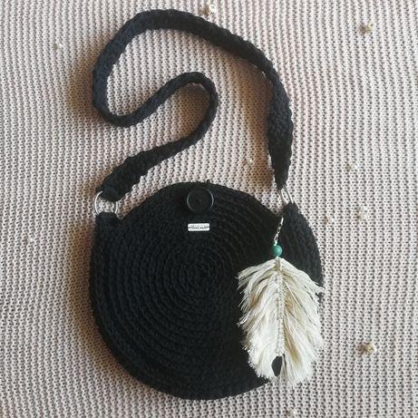 Torba ze sznurka bawełnianego okrągła hand made