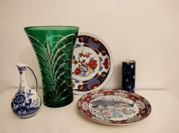 Piękny, duży szklany wazon, niemiecka patera, talerz, stare wazoniki