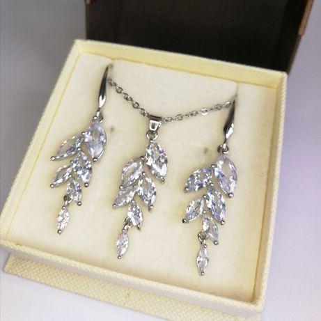 Nowy srebrny komplet biżuterii z cyrkoniami